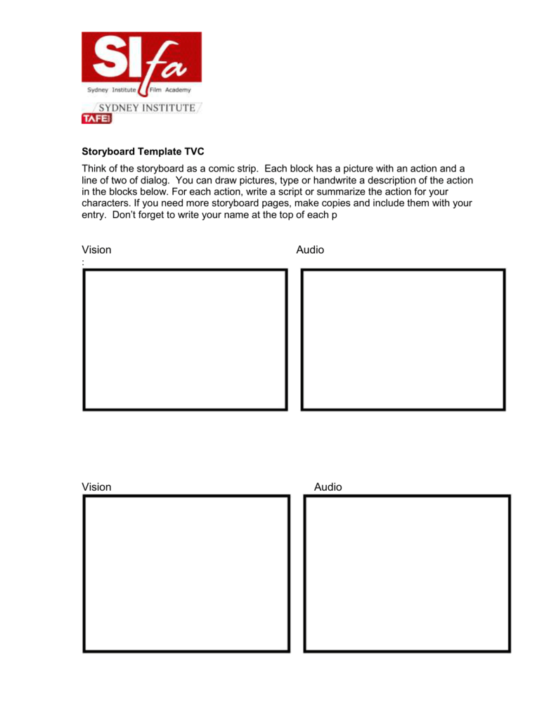 tvc storyboard template