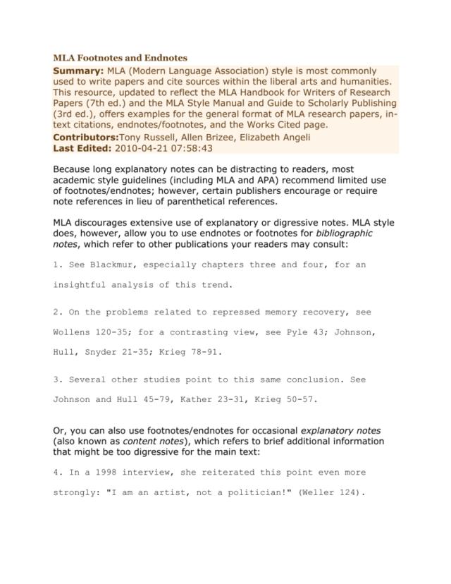 MLA Footnotes and Endnotes