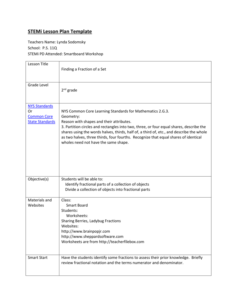 hight resolution of STEMi Lesson Plan Template Teachers Name: Lynda Sodomsky