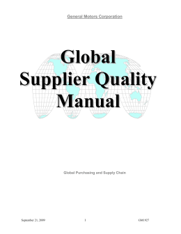 Supplier Quality Statement of Requirements
