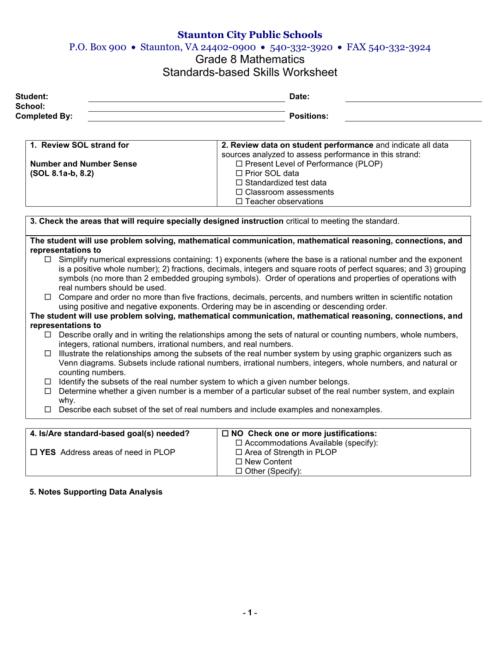 small resolution of 8th Grade Skills Worksheet
