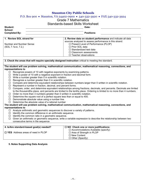 small resolution of 7th Grade Skills Worksheet