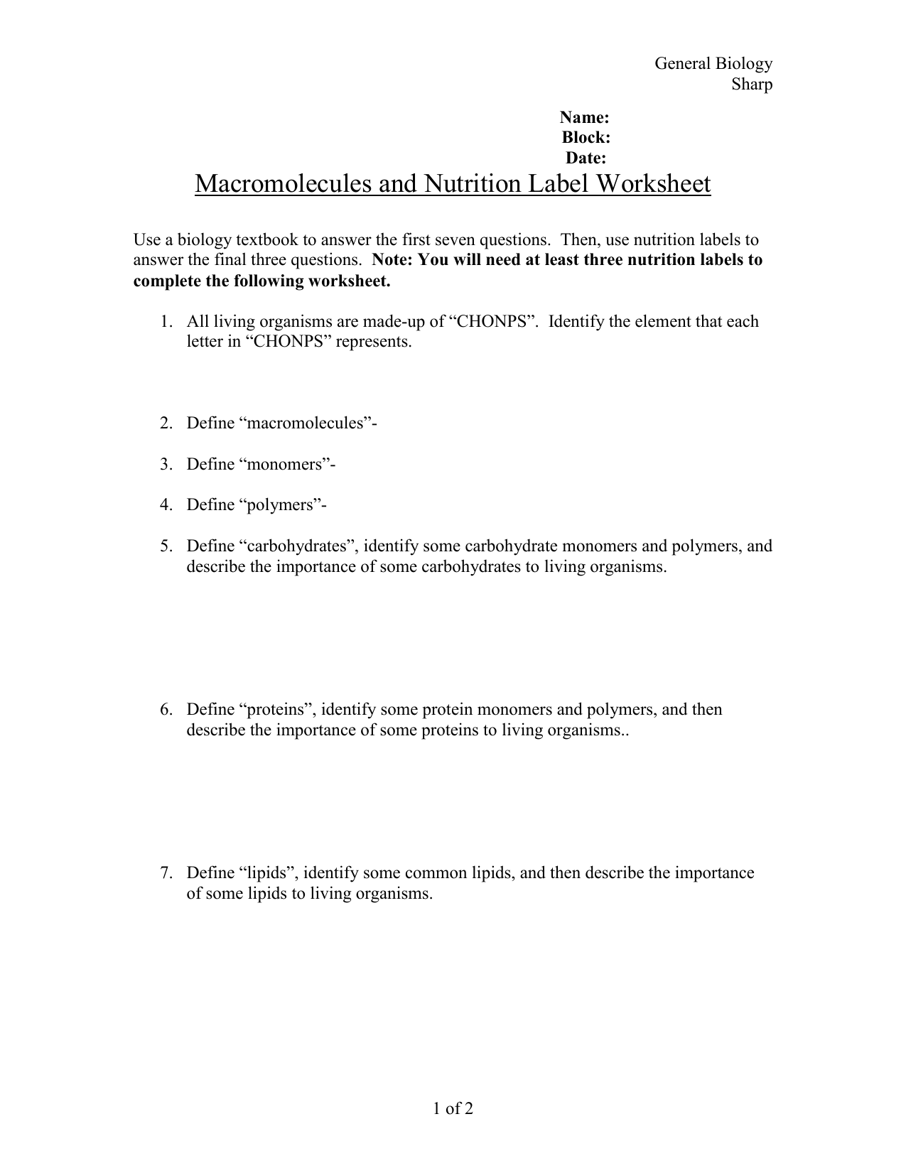 33 Macromolecules And Nutrition Label Worksheet Answers