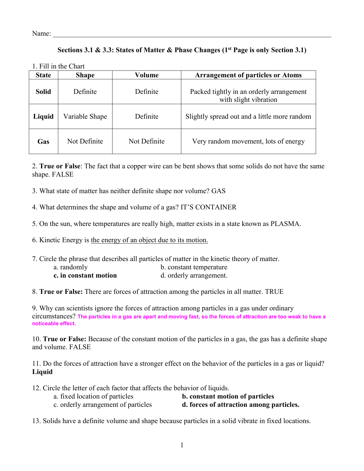 Chapter 3 Notes Key