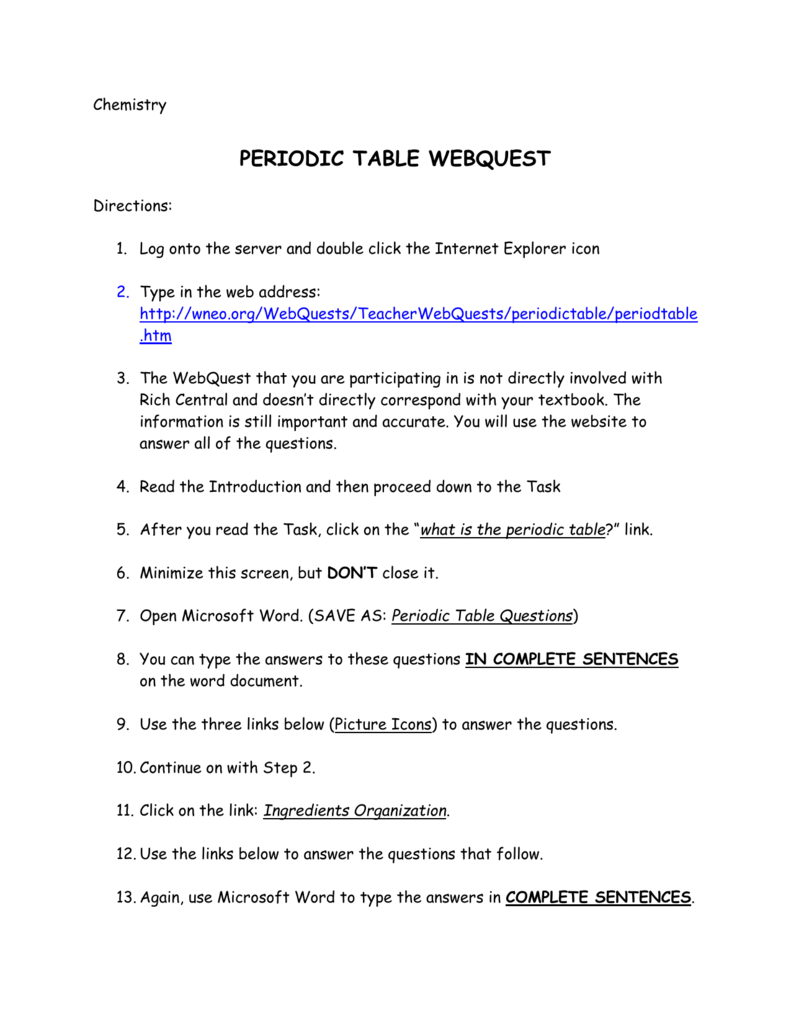 Periodic Table Webquest Answer Key : periodic, table, webquest, answer, Periodic, Table, WebQuest