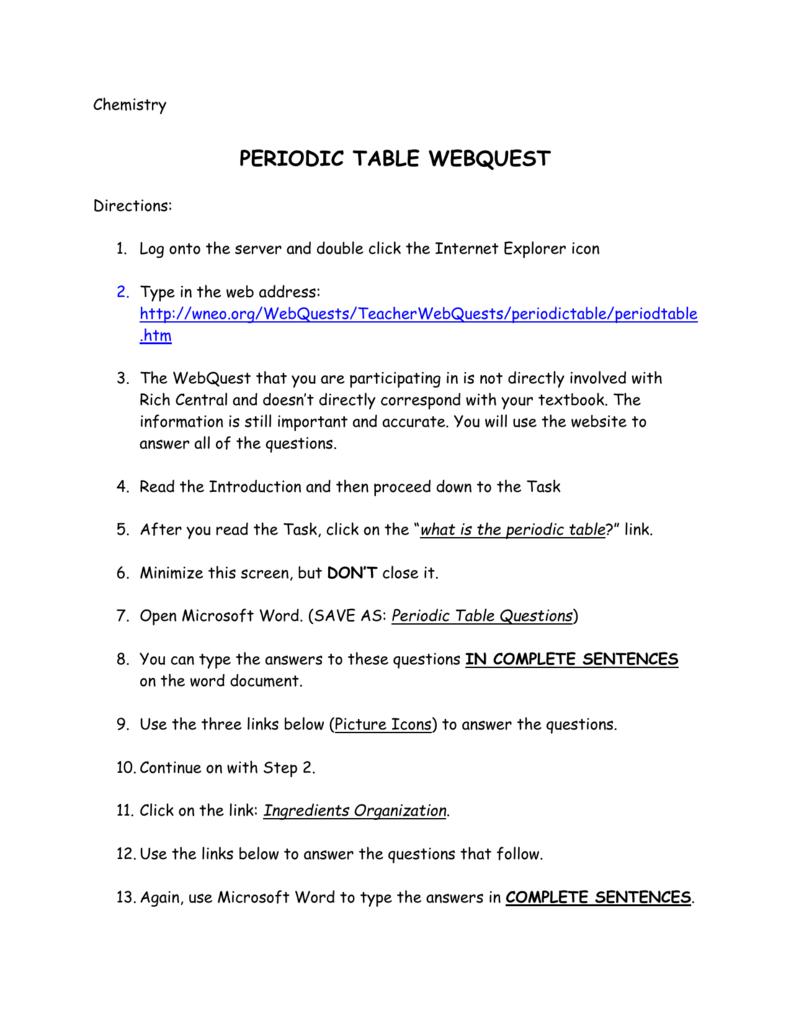 Peridoc Trends Webquest Key / Periodic Table Review Worksheet In Periodic Table Webquest Worksheet Answers