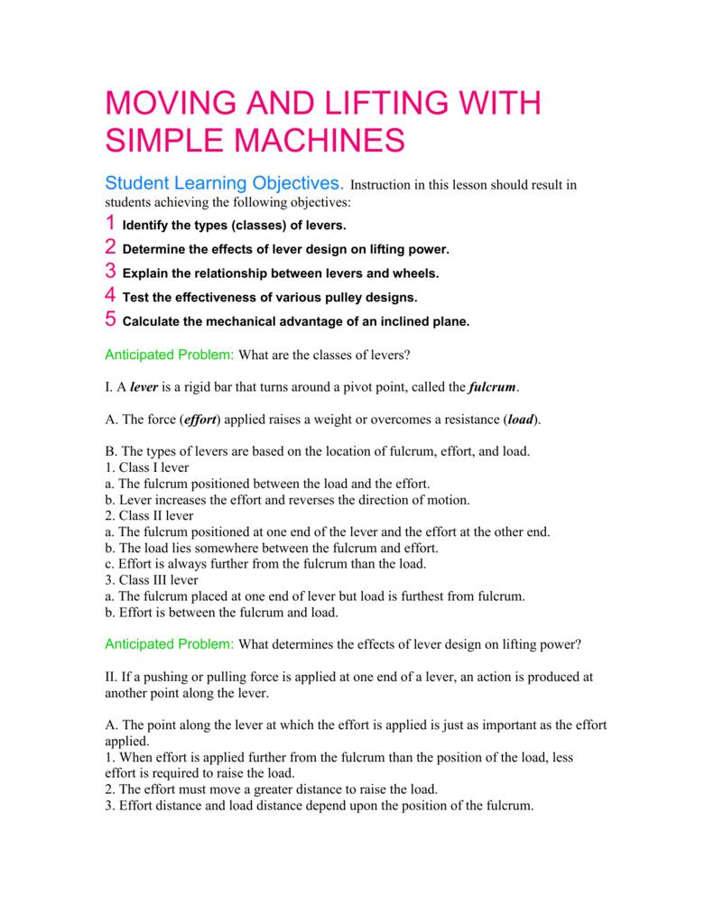 medium resolution of psaa simple machines worksheet