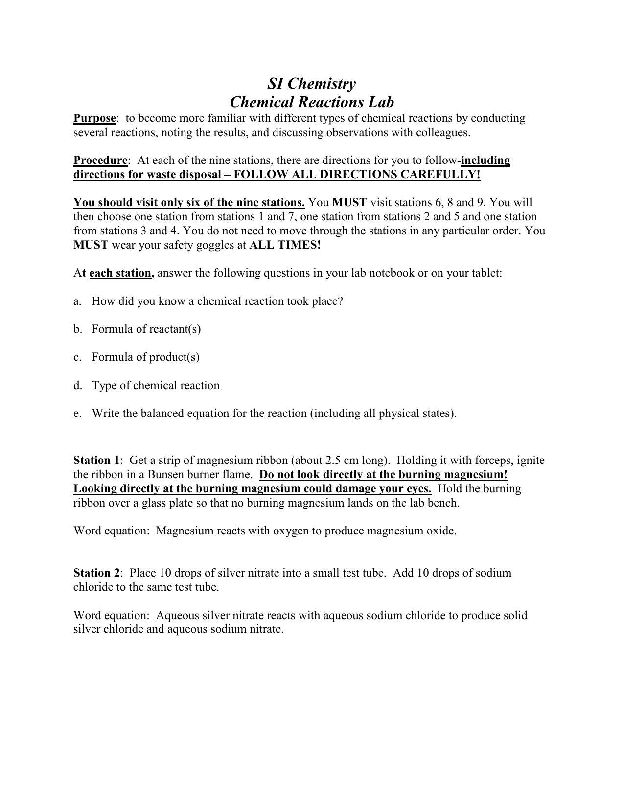 Chemical Reactions And Equations Lab Worksheet