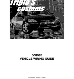 dodge vehicle wiring guide copyright 2002 2003 triple s customs contents 1995 2000 dodge avenger 1989 2003 dodge caravan 1991 2003 dodge dakota 1998 2003  [ 791 x 1024 Pixel ]