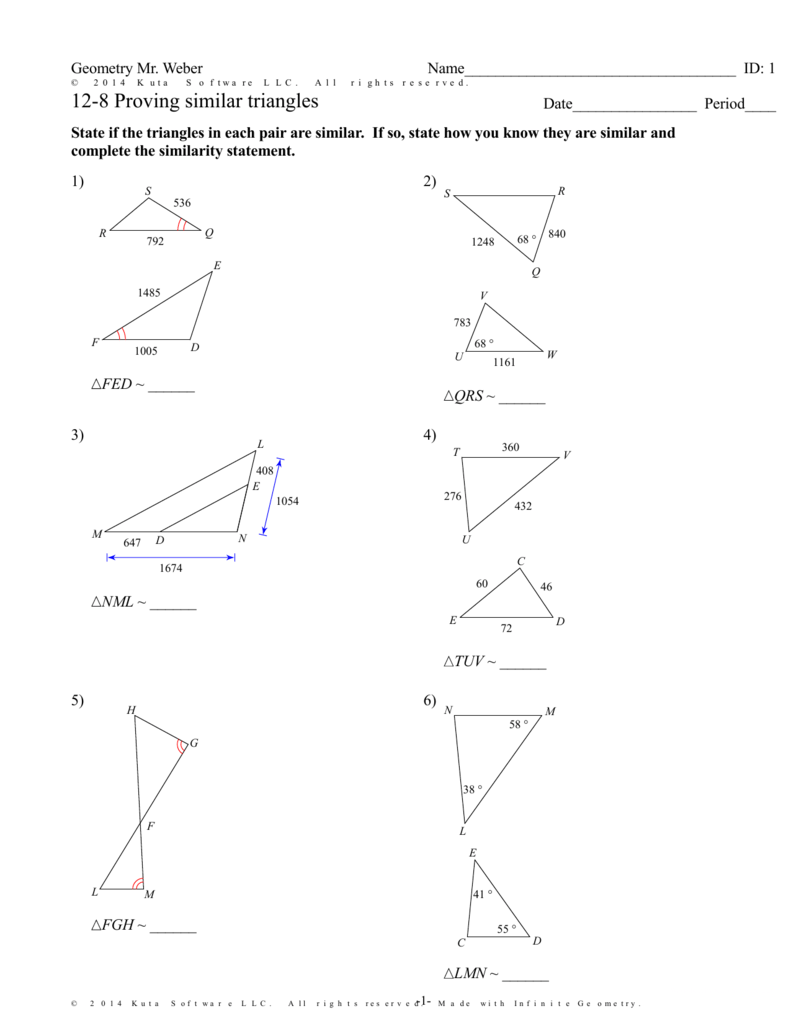 medium resolution of Geometry Similar Triangles Worksheet Answers - Nidecmege