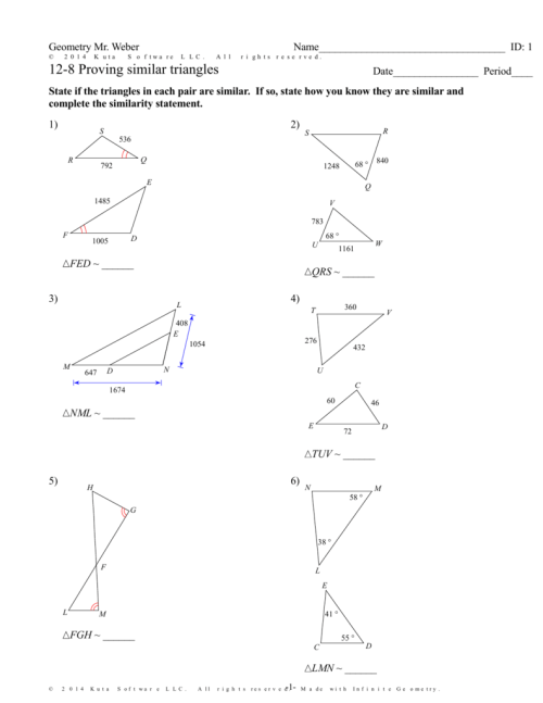 small resolution of Geometry Similar Triangles Worksheet Answers - Nidecmege