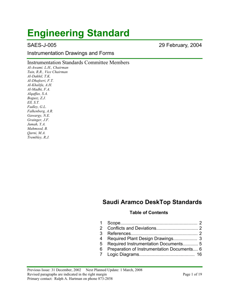 medium resolution of engineering standard saes j 005 29 february 2004 instrumentation drawings and forms instrumentation standards committee members al awami