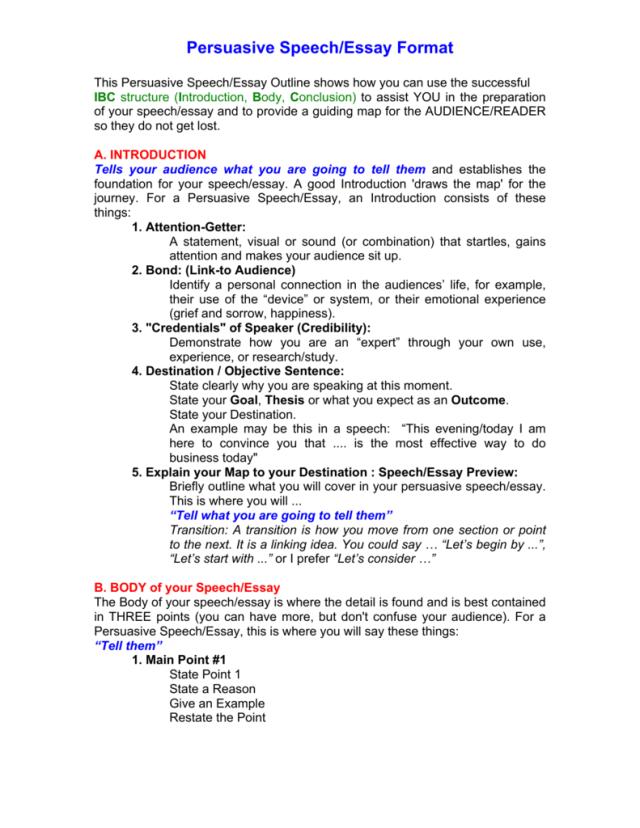Persuasive Speech/Essay Format