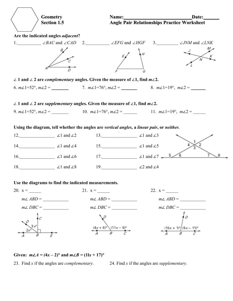 Angle Relationships Worksheet Answer Key : angle, relationships, worksheet, answer, Angle, Relationships, Practice, Worksheet, 1.jnt