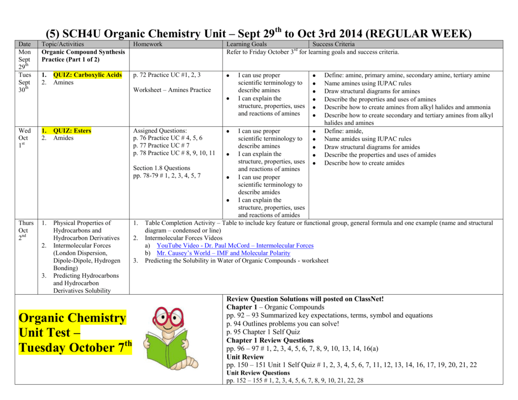 Organic Chemistry Unit Test Tuesday October 7