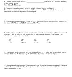 Average Atomic Mass Worksheet - Worksheet List [ 1024 x 791 Pixel ]