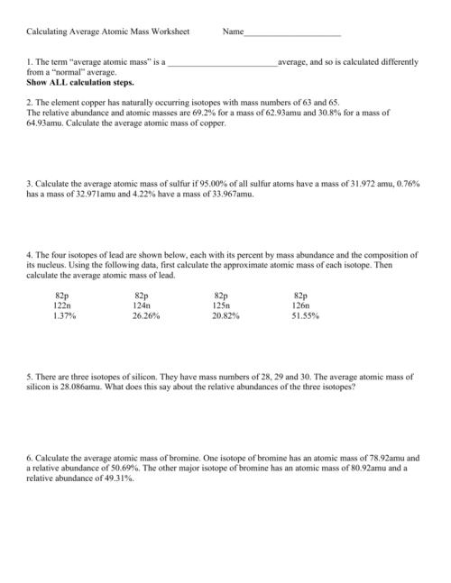 small resolution of Average Atomic Mass Worksheet - Worksheet List