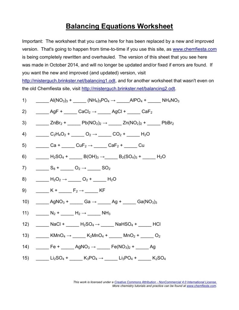 medium resolution of Balancing Equations Worksheet