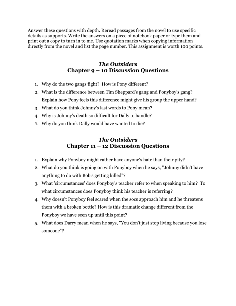 Outsiders Essay Questions The Outsiders Chapter 9 10 Discussion Questions The Outsiders