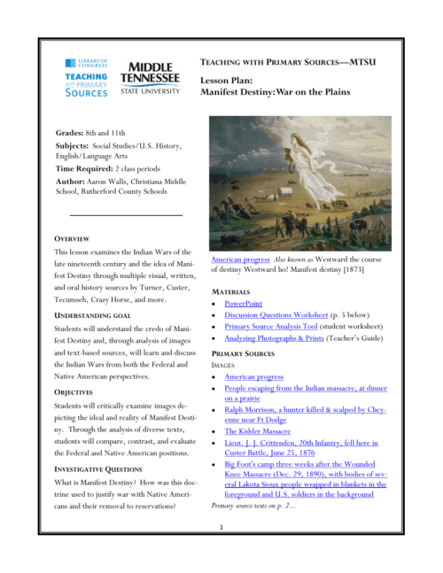 small resolution of Lesson Plan: Manifest Destiny: War on the Plains