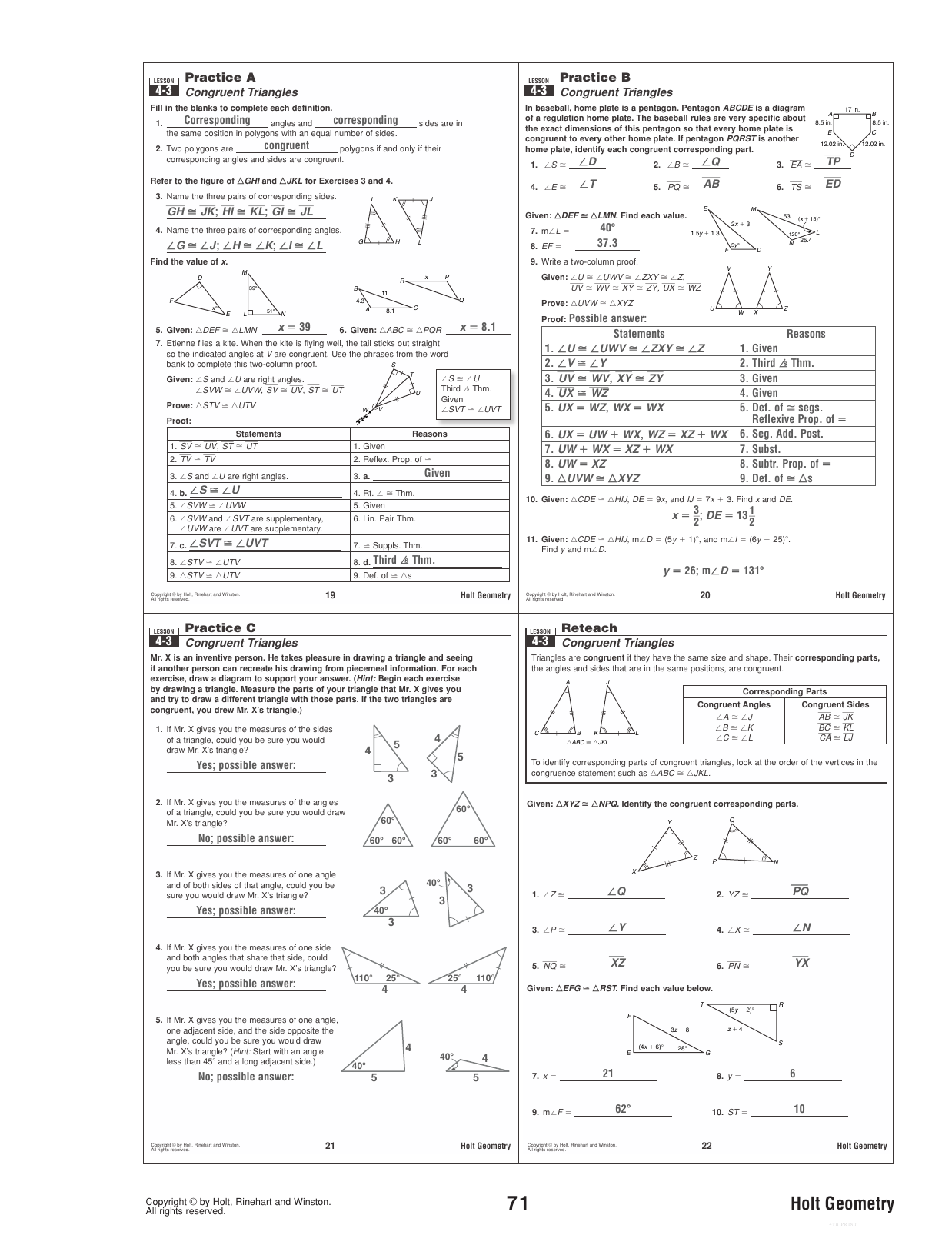 hight resolution of 34 Geometry Worksheet Congruent Triangles Answer Key - Worksheet Project  List