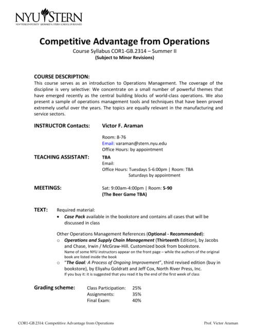 small resolution of competitive advantage from operations course syllabus cor1 gb 2314 summer ii subject to minor revisions course description this course serves as an