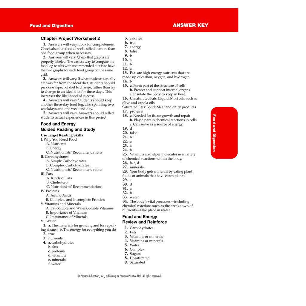 Reading A Food Label Worksheet Answer Key