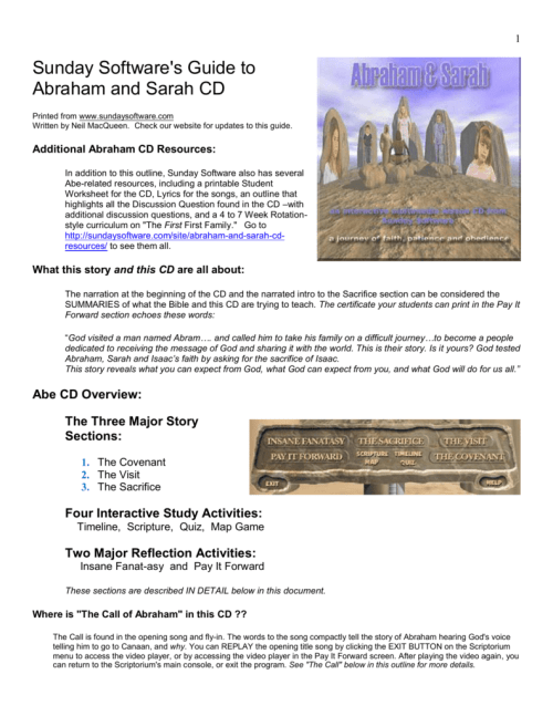 small resolution of Abraham \u0026 Sarah CD Outline and Guide