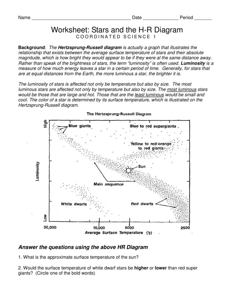 Hr Diagram Worksheet Answers : diagram, worksheet, answers, Worksheet:, Stars, Diagram