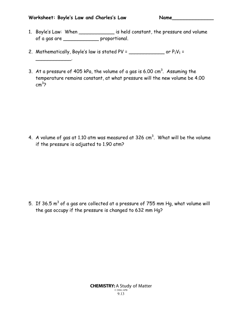 Worksheet More Boyle S Law And Charles Law Key