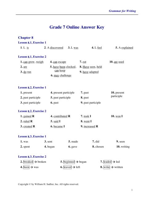 small resolution of Grade 7 Online Answer Key - Sadlier