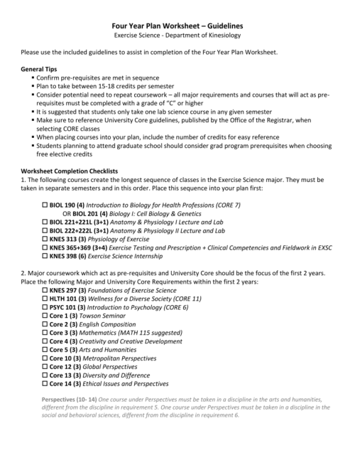 small resolution of Four Year Plan Worksheet – Guidelines