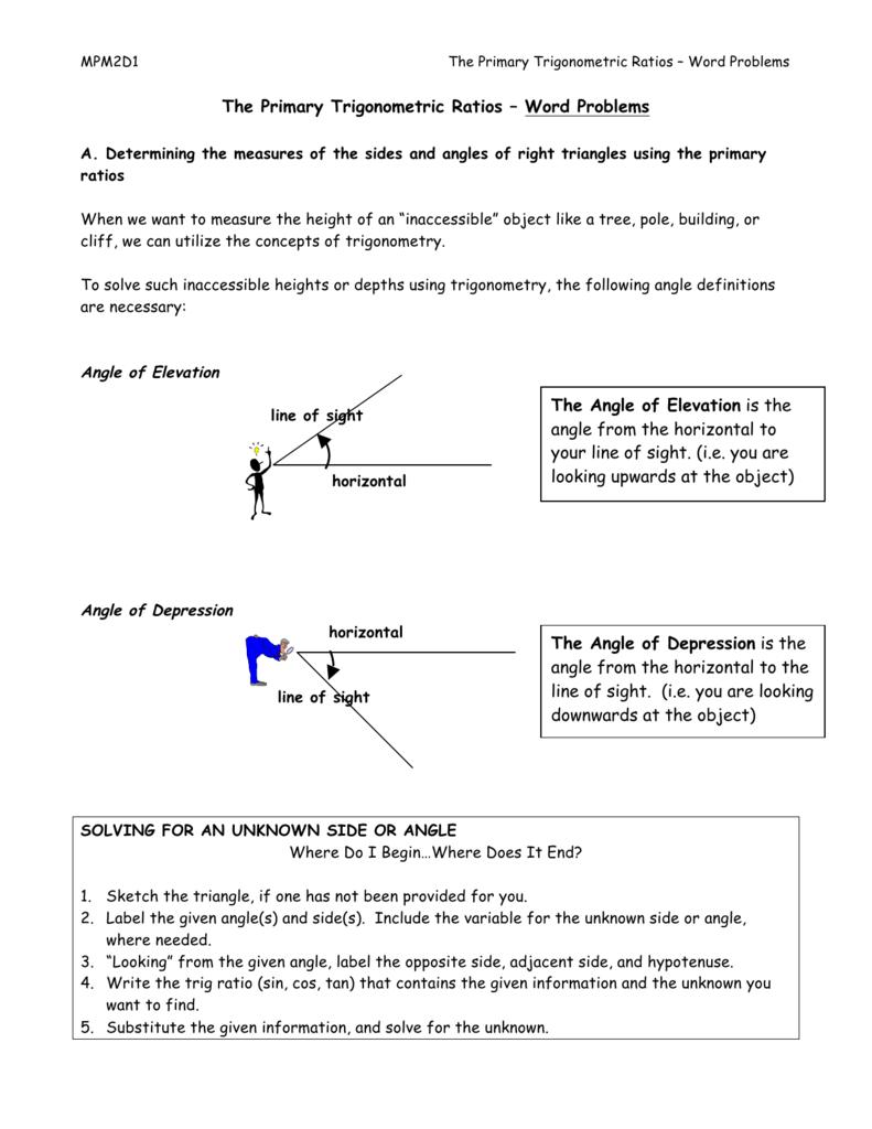 hight resolution of Trig Word Problems Worksheet Key - Nidecmege