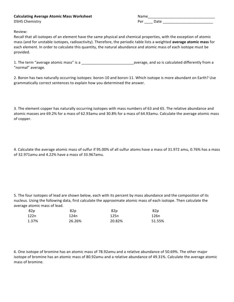 hight resolution of 30 Calculating Average Atomic Mass Worksheet - Worksheet Resource Plans