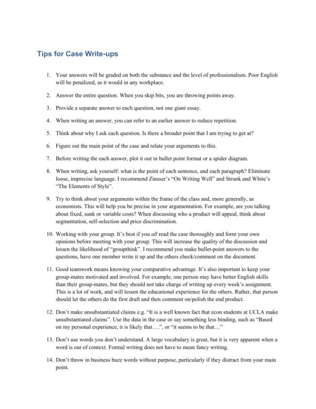 Tips for Case Write-ups
