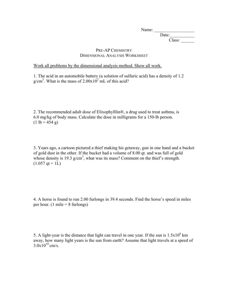 hight resolution of Dimensional Analysis Worksheet 1 - Worksheet List
