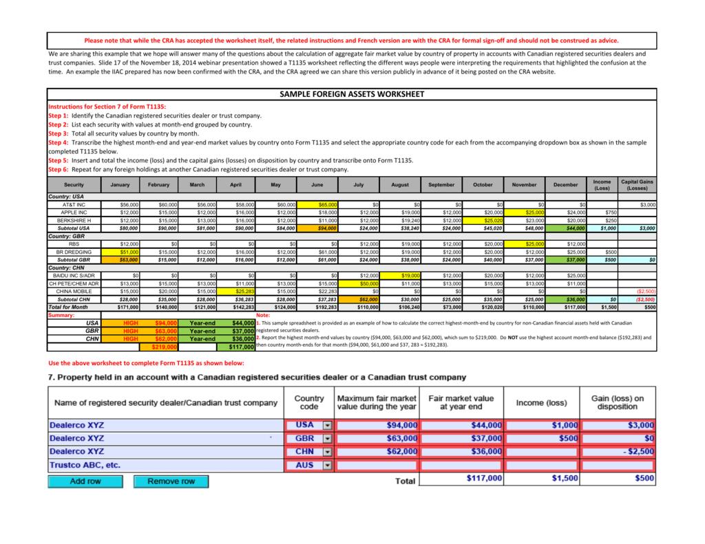 Sample Foreign Assets Worksheet
