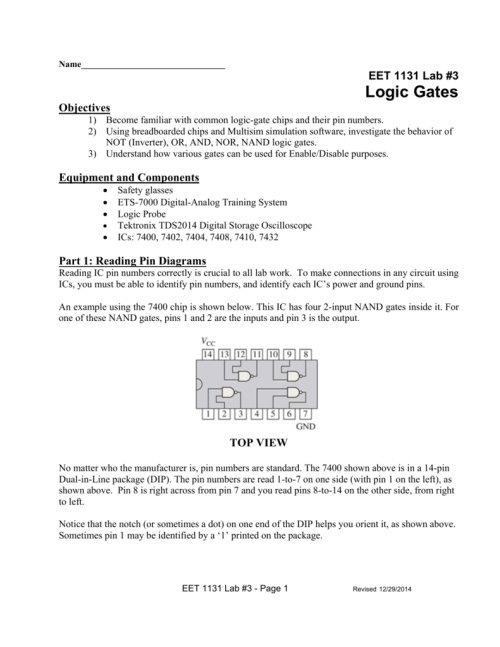 small resolution of name eet 1131 lab 3 logic gates objectives 1 become familiar with common logic gate chips and their pin numbers