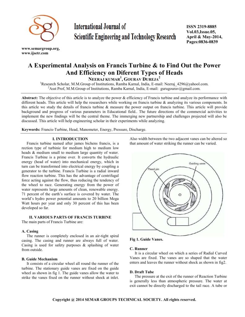 hight resolution of velocity diagram of franci turbine