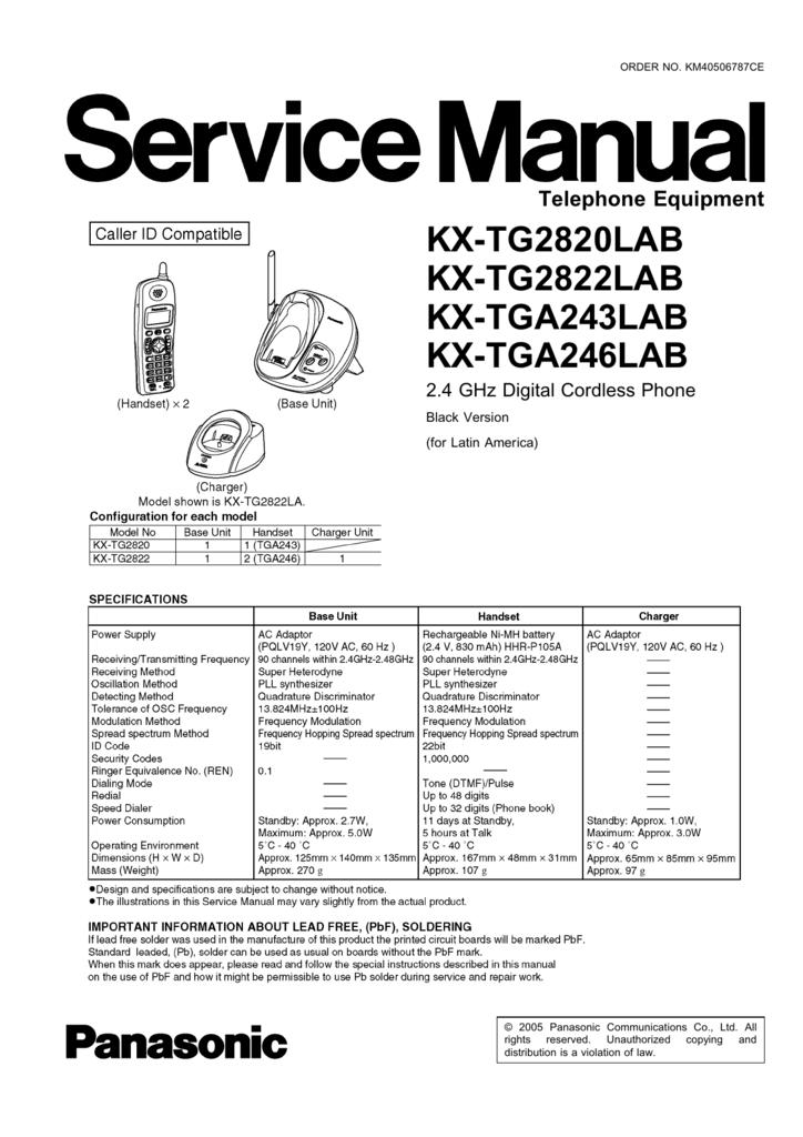 KX-TG2820LAB KX-TG2822LAB KX-TGA243LAB KX