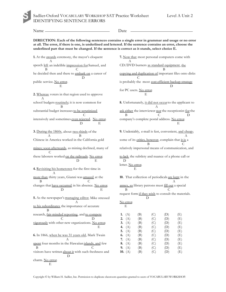 hight resolution of Sadlier Test Prep Identifying Sentence Errors Level A Unit…