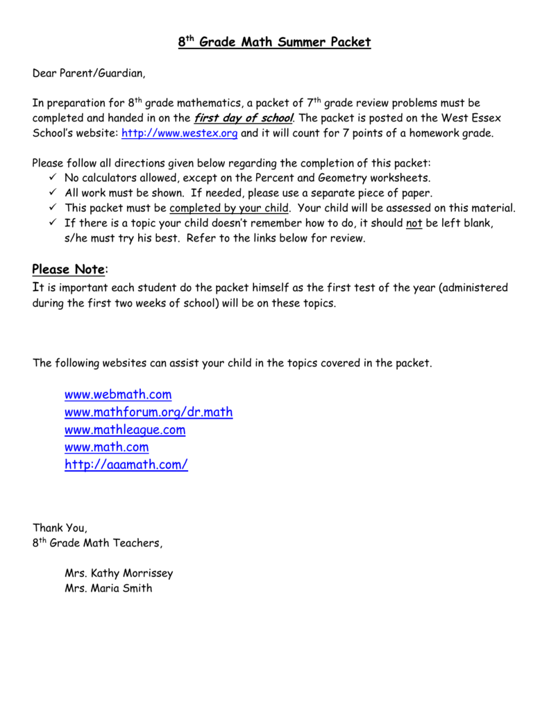 medium resolution of 8th Grade Math Summer Packet Please Note: www.webmath.com