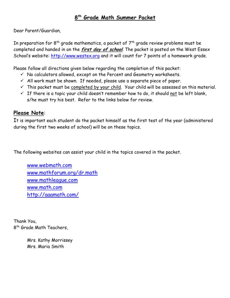 hight resolution of 8th Grade Math Summer Packet Please Note: www.webmath.com
