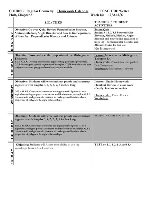 small resolution of COURSE: Regular Geometry Homework Calendar TEACHER