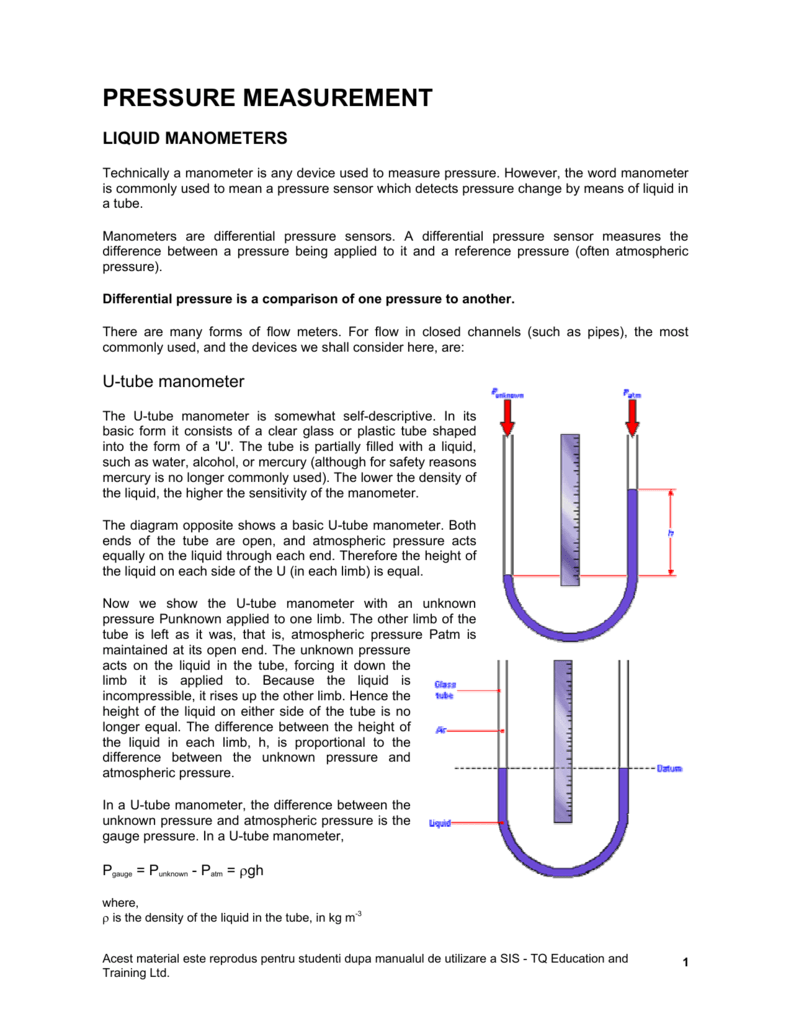 hight resolution of pressure measurement liquid manometers technically a manometer is any device used to measure pressure however the word manometer is commonly used to mean