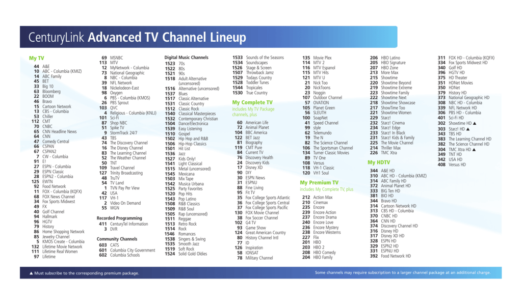 centurylink advanced tv channel