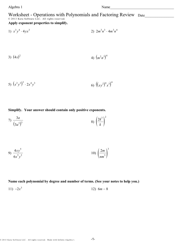 hight resolution of Worksheet - Operations with Polynomials and