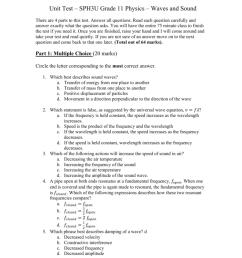 Unit Test – SPH3U Grade 11 Physics – Waves and Sound [ 1024 x 791 Pixel ]