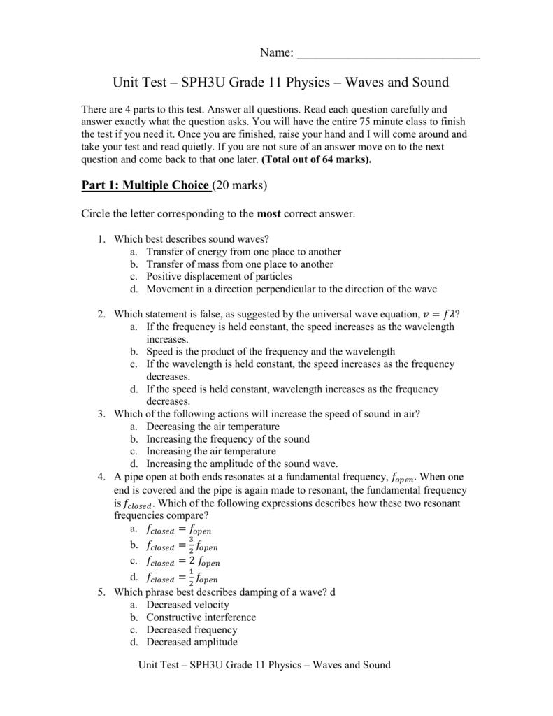 medium resolution of Unit Test – SPH3U Grade 11 Physics – Waves and Sound