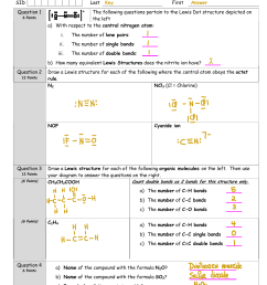 chem 110 fall 2014 sid last question 1 6 points exam ii key first whelan answer the following questions pertain to the lewis dot structure depicted on the  [ 791 x 1024 Pixel ]